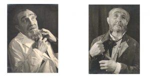 Слева: Менахем Гнесин в роли Харитонова (пьеса «Русские люди» К. Симонова), 1943. Справа: Менахем Гнесин в роли Мармеладова («Преступление и наказание»), 1942. Menachem Gnessin